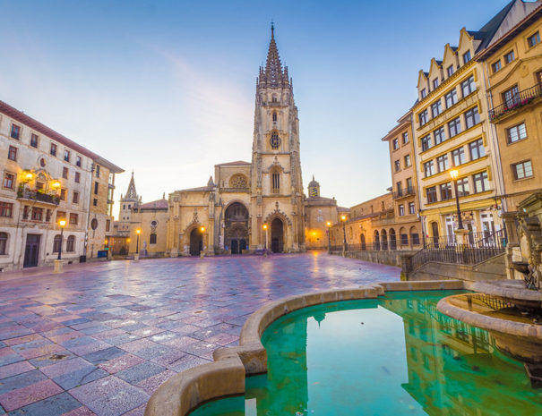 The Cathedral of Oviedo, Spain, was founded by King Fruela I of Asturias in 781 AD and is located in the Alfonso II square.